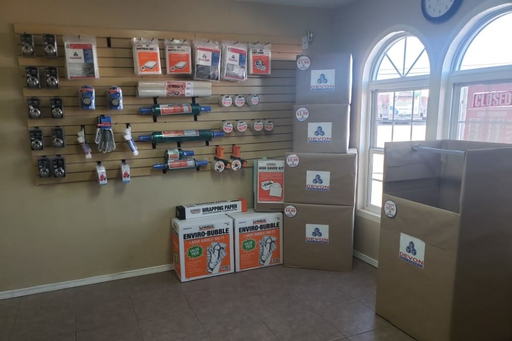 Various packing and moving supplies at Armadillo Self Storage in El Paso, Texas