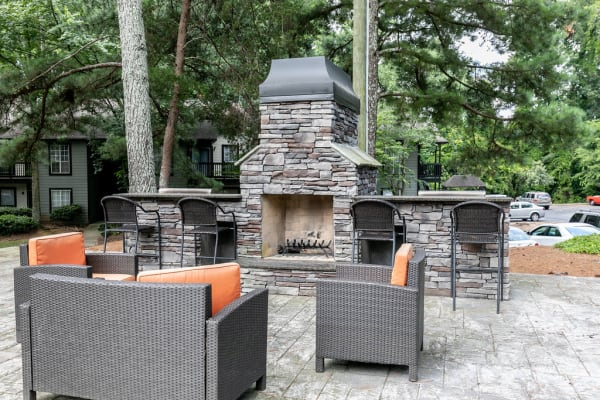 An outdoor fire pit at The BelAire Apartment Homes in Marietta, Georgia