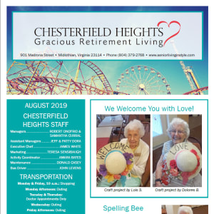 August Chesterfield Heights newsletter