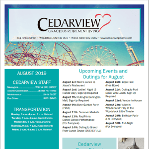 August Cedarview Gracious Retirement Living newsletter