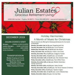 December Julian Estates Gracious Retirement Living newsletter
