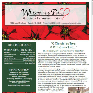 December Whispering Pines Gracious Retirement Living newsletter