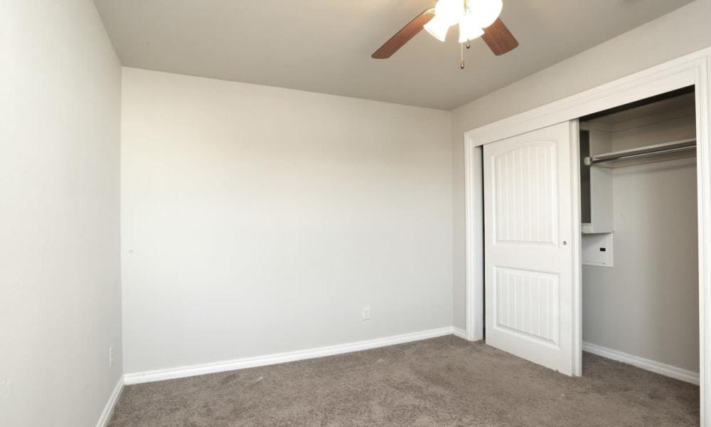 Spacious bedroom and closet at Cross Timber in Oklahoma City, Oklahoma