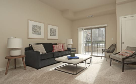 Private balcony or patio in apartments at Affinity at Ramsey in Ramsey, Minnesota.