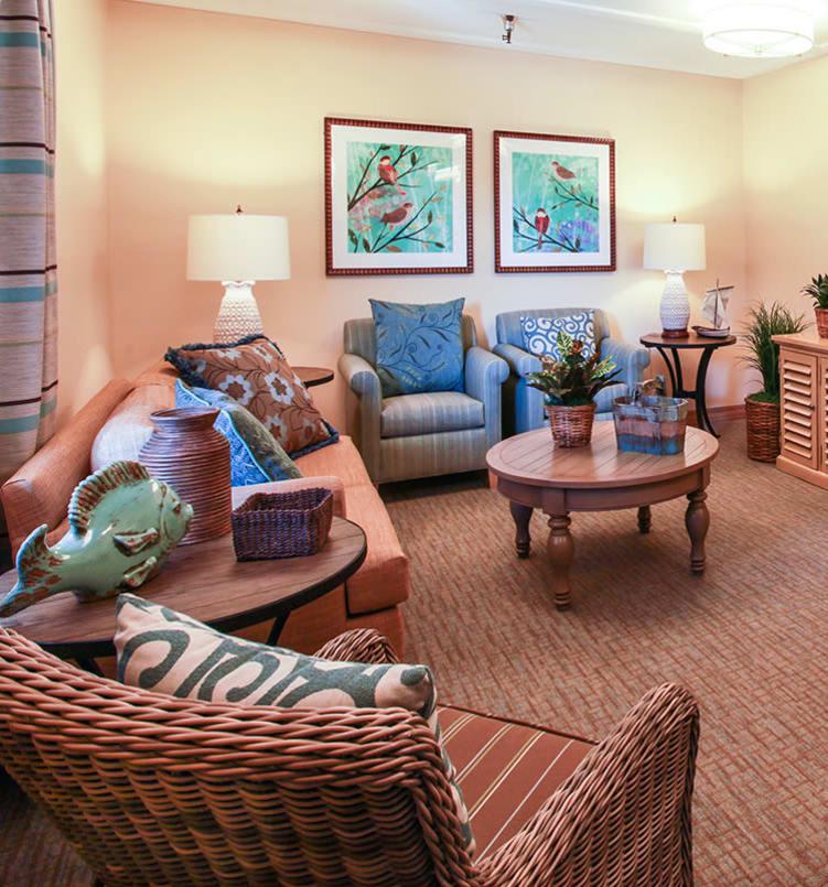 Living room at Huntington Terrace in Huntington Beach, California