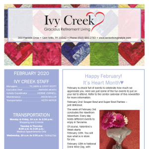 February Ivy Creek Gracious Retirement Living newsletter