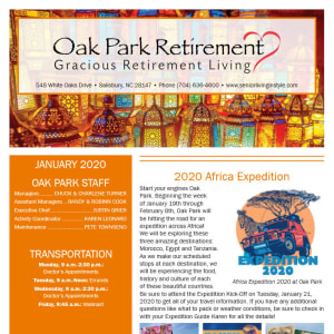 January Oak Park Retirement Newsletter