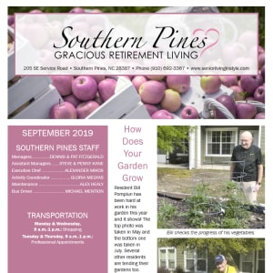 September Southern Pines Gracious Retirement Living Newsletter