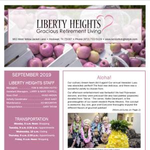 September Liberty Heights Gracious Retirement Living Newsletter