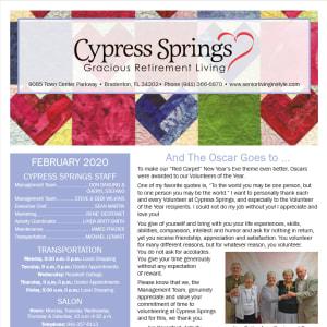February Cypress Springs Gracious Retirement Living Newsletter