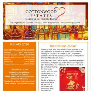 January Cottonwood Estates Gracious Retirement Living Newsletter