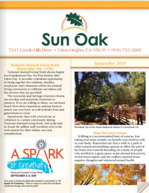 Sun Oak Senior Living Newsletter
