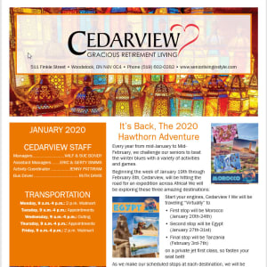 January Cedarview Gracious Retirement Living Newsletter