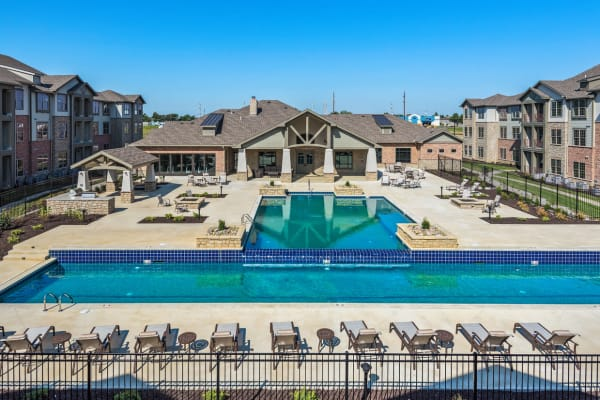 The salt water community pool at Boulders at Overland Park Apartments in Overland Park, Kansas