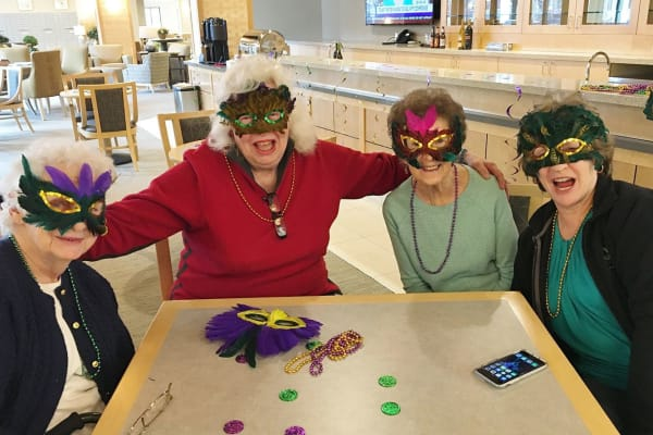 Residents dressed up for an event at Merrill Gardens at Auburn in Auburn, Washington.