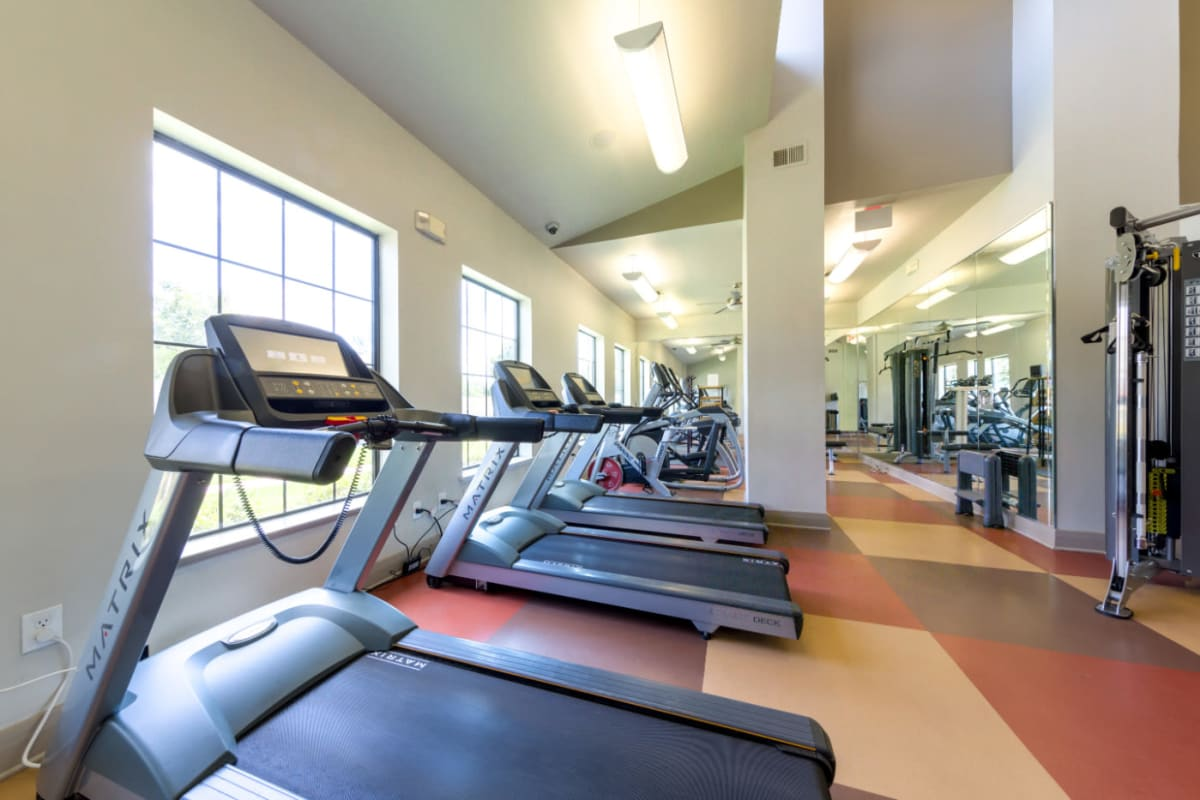 Cardio machines in fitness room at Marquis at Sugar Land in Sugar Land, Texas