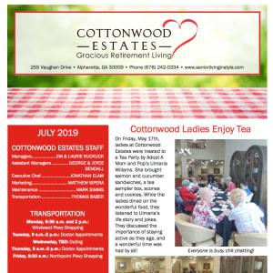 July Cottonwood Estates Gracious Retirement Living Newsletter