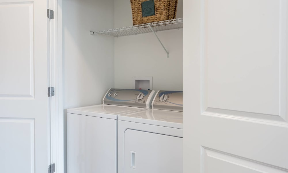 Washer and dryer in our apartments at Canal Crossing
