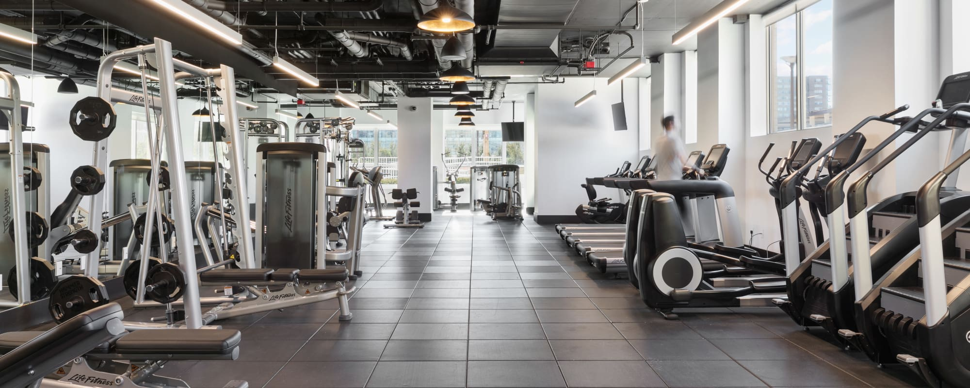 Luxury fitness center at Trump Bay Street in Jersey City, New Jersey
