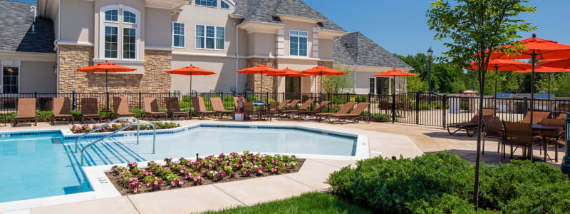 Poolside seating at The Grove Somerset in Somerset, New Jersey