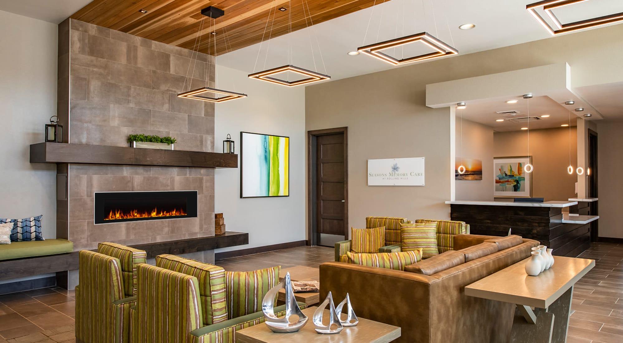 Great room at Seasons Memory Care at Rolling Hills in Torrance, California