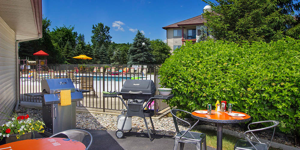 Community barbecue grill at Stone Crest in Mt Pleasant, Michigan