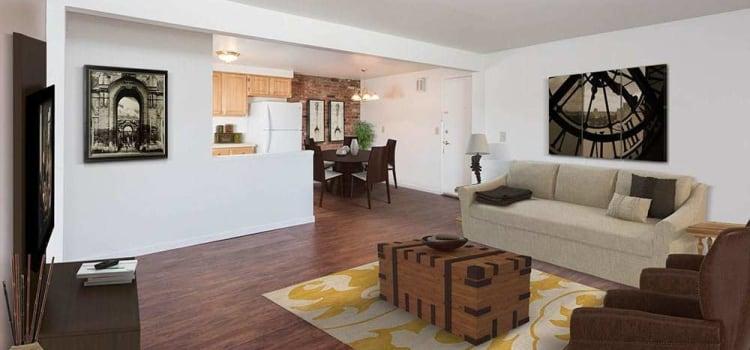 Beautifully designed living room at Idylwood Resort Apartments home in Cheektowaga