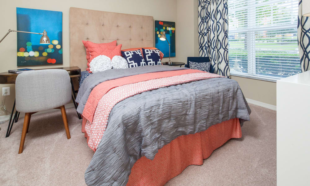 Sunlit bedroom at apartments in Clermont, Florida