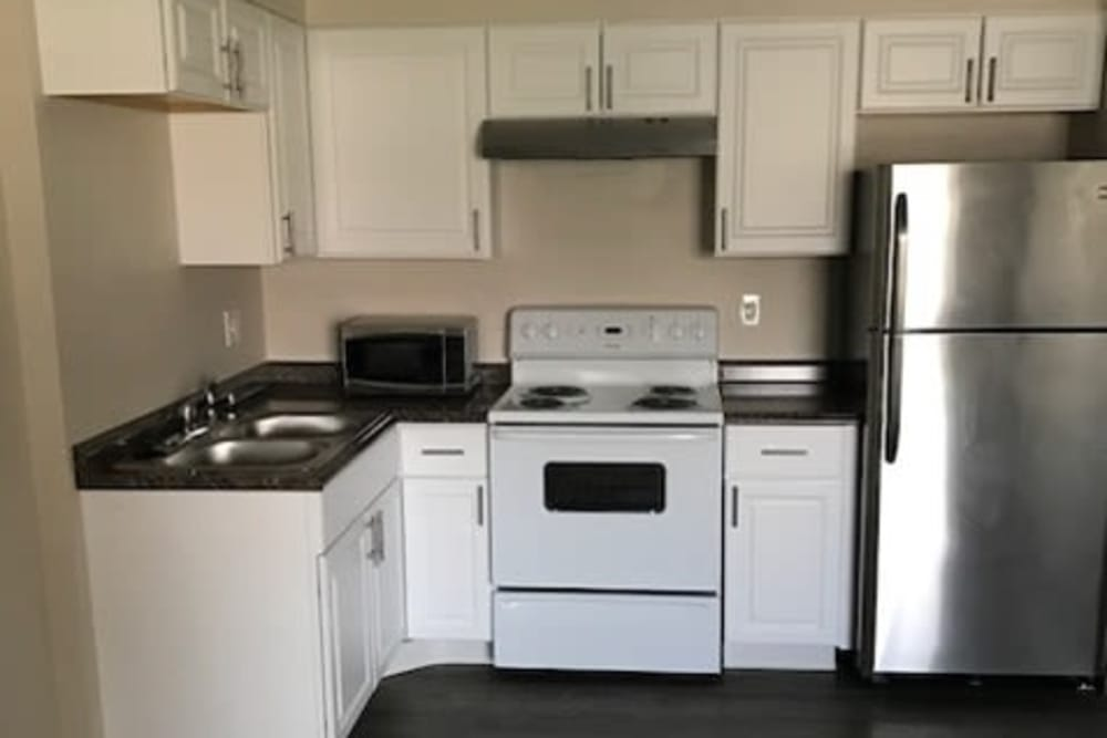 Model kitchen layout at Capitol Hill Apartments in Denver, Colorado