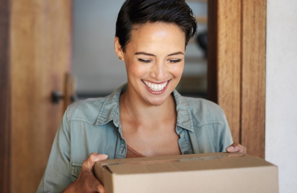 Woman with delivery box