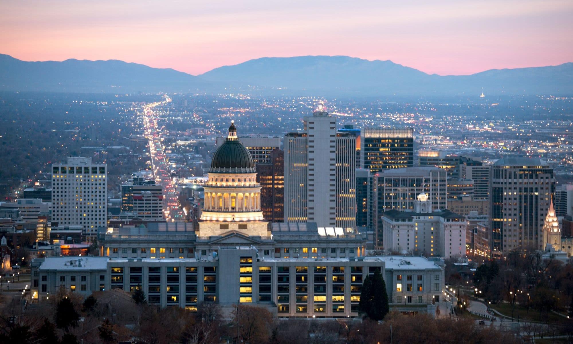 Beautiful view of the city at dusk near Liberty SKY in Salt Lake City, Utah