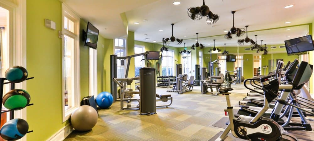 Full sized fitness center at Fountains at Mooresville Town Square in Mooresville, North Carolina