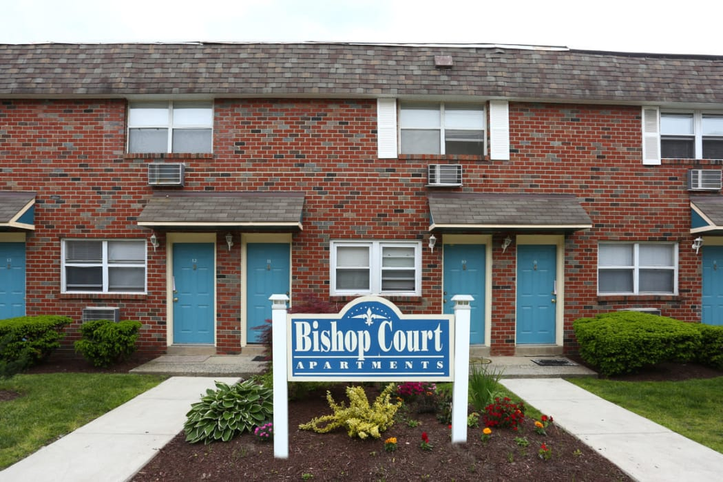 Apartment sign at Bishop - Stratford Court Apartments in Stratford, New Jersey