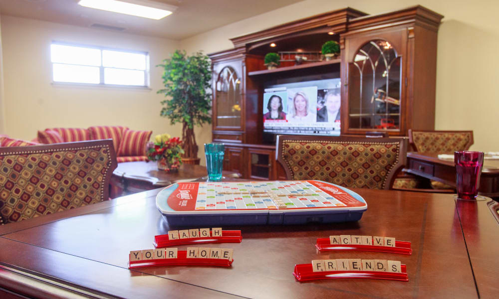 Scrabble on a table in the game room at Cedarview Gracious Retirement Living in Woodstock, Ontario