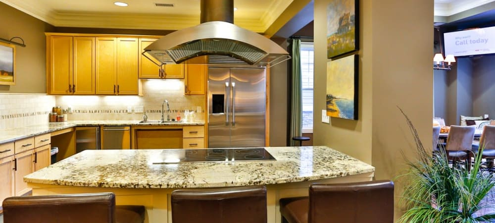 Modern kitchen at Fountains at Mooresville Town Square in Mooresville, North Carolina