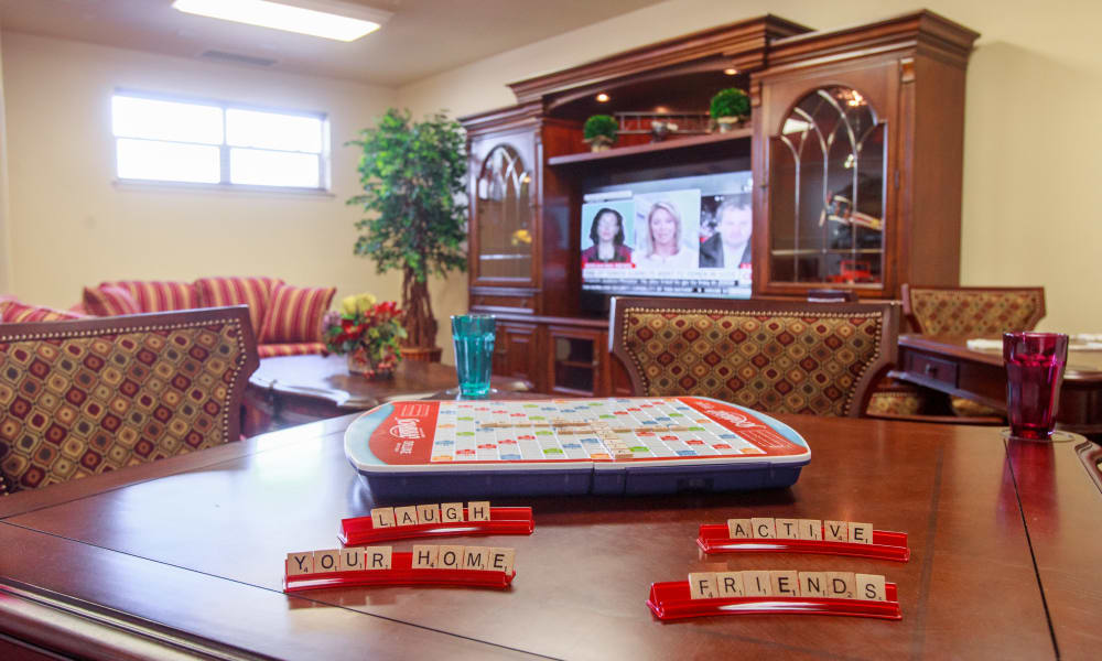 Scrabble on a table at Edgewood Point Assisted Living in Beaverton, Oregon