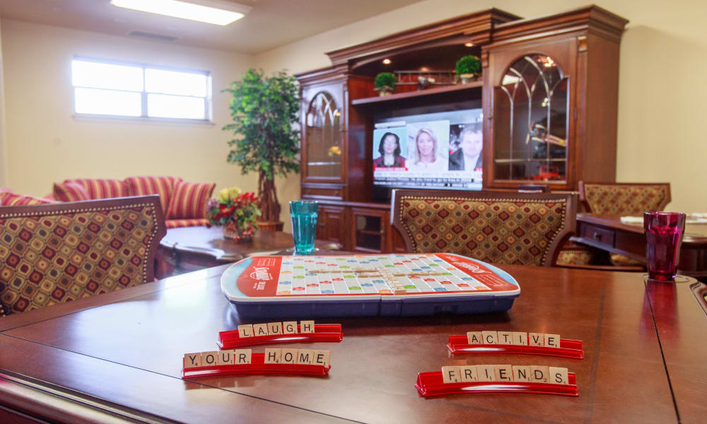 Scrabble on a table at Chesterfield Heights in Midlothian, Virginia