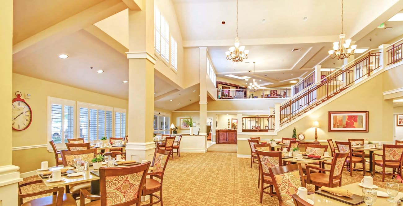 Dining area at The Commons on Thornton in Stockton, California