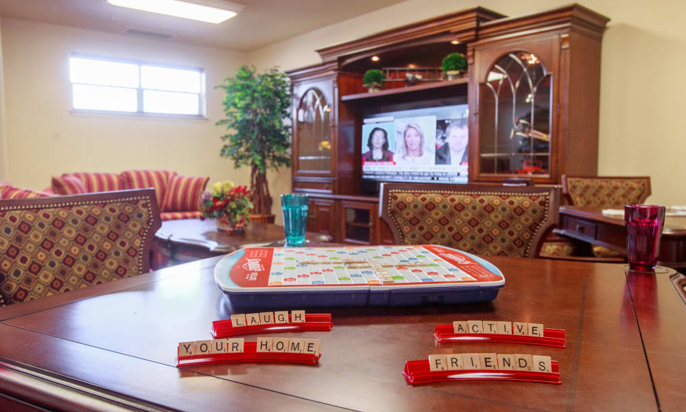 Scrabble on a table at Colonial Gardens Gracious Retirement Living in Beverly, Massachusetts