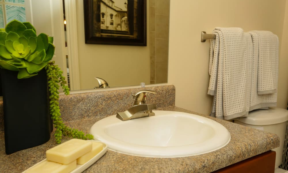 Bathroom with a granite countertop in a model home at The Hawthorne in Jacksonville, Florida
