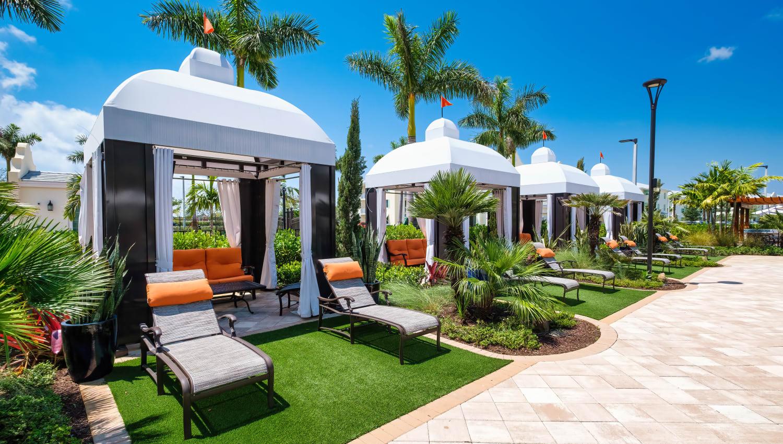 Private poolside cabanas at Town Lantana in Lantana, Florida