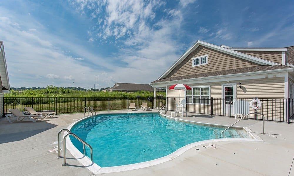 Sparkling swimming pool at Canal Crossing home in Camillus, New York
