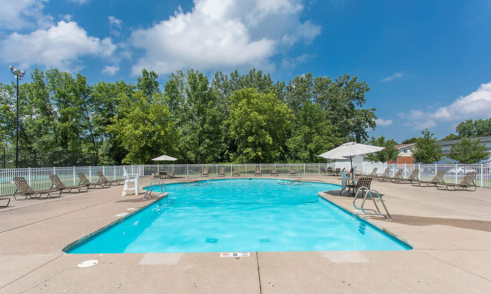 Beautiful swimming pool at apartments & townhomes in Brockport, NY