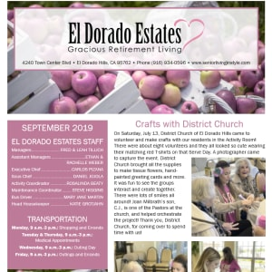 September El Dorado Estates Gracious Retirement Living Newsletter