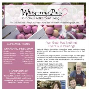 September Whispering Pines Gracious Retirement Living Newsletter