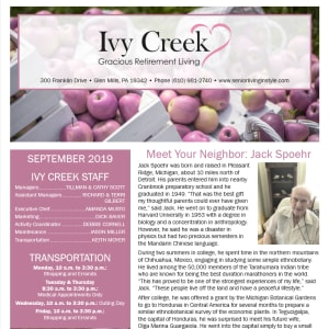September Ivy Creek Gracious Retirement Living Newsletter