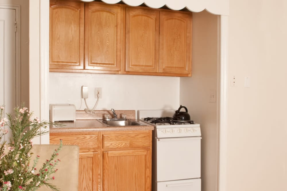 Cute kitchen at King Alfred Apartments in Passaic, New Jersey