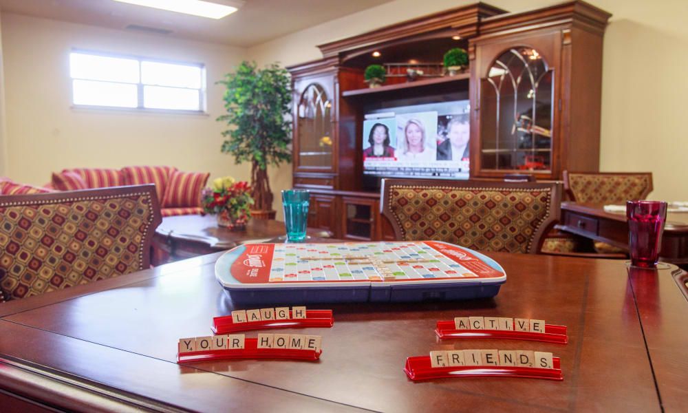Scrabble board out in the game room at Camden Springs Gracious Retirement Living in Elk Grove, California