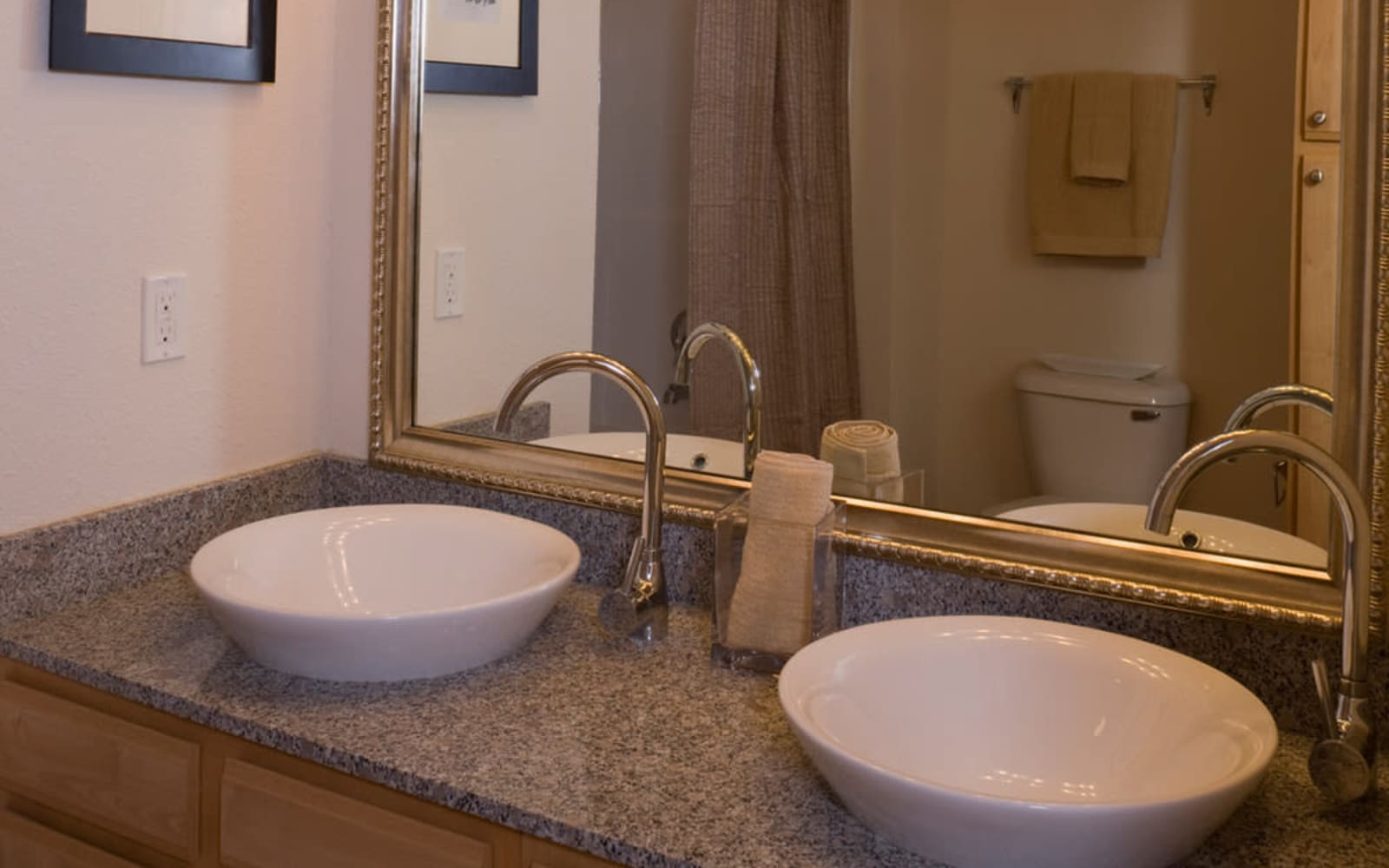 Vessel bowl sinks at Plantation Crossing in Lafayette, Louisiana.