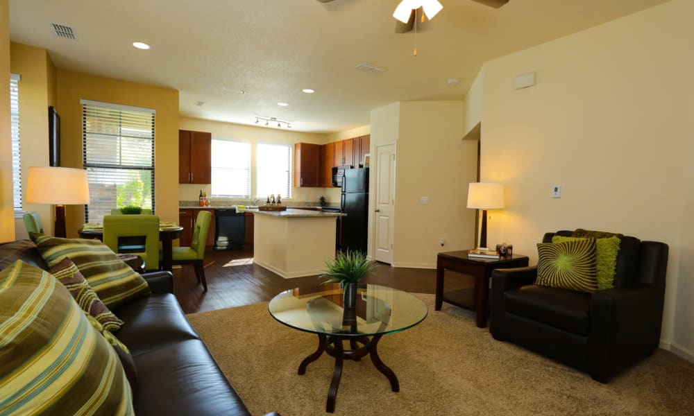 Comfortably furnished living area in a model apartment at The Hawthorne in Jacksonville, Florida